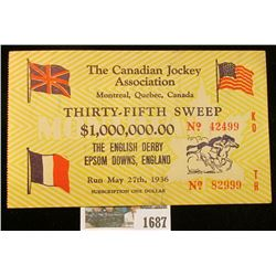 """1687 _ 1936 """"The Canadian Jockey Association Montreal, Quebec, Canada Thirty-Fifth Sweep $1,000,000."""