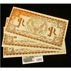 """1692 _ June 1925 Rare Set of Three Consecutive Serial Number Fifty Cent Scrip from """"GJR"""" (George Jun"""