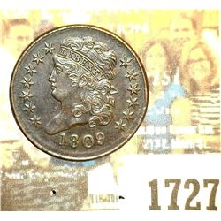 1727 _ 1809 U.S. Half Cent, mostly Brown Uncirculated.