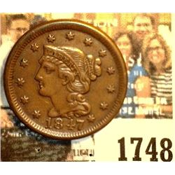 1748 _ 1847 U.S. Large Cent, Brown Almost Uncirculated. Originally purchased in someone's Auction #1
