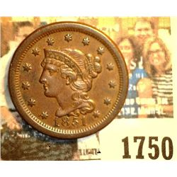 """1750 _ 1851 U.S. Large Cent, Brown Uncirculated. Originally purchased in someone's Auction #658 as """""""