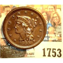 1753 _ 1855 Upright 5 U.S. Large Cent, Brown Uncirculated. Originally purchased in someone's Auction