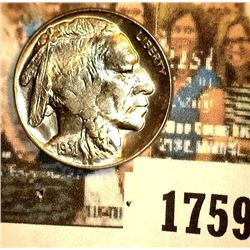1759 _ 1931 S Buffalo Nickel, Gem BU. May have been certified by PCGS as MS64 at one time according