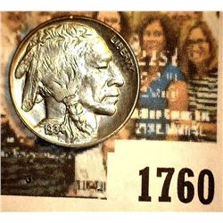 1760 _ 1934 D Buffalo Nickel, Gem BU. May have been certified by PCGS as MS64 at one time according