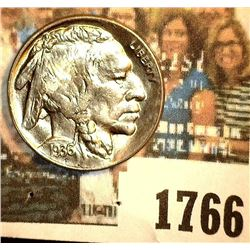 1766 _ 1936 D Buffalo Nickel, Gem BU. May have been certified by NGC as MS65 at one time according t