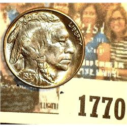 1770 _ 1937 S Buffalo Nickel, Gem BU. May have been certified by PCGS as MS65 at one time according