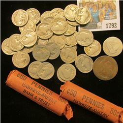 1792 _ Pair of unsorted Rolls of U.S. Wheat Cents; (34) Old Well-worn Buffalo Nickels; Silver Standi