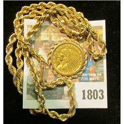 """""""1803_Solid 14K Gold Rope Necklace and Rope Bezel containing a 1926 U.S. Gold Quarter Eagle ($2.50"""