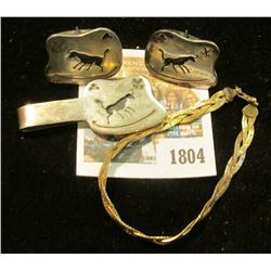 """""""1804_Sterling Silver Bracelet; Indian Design Money Clip & Cuff Links. Total weight of Sterling Si"""