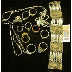 """""""1805_Group of Jewelry Rings, Bracelets, and etc. Almost all Sterling Silver or Vermeil. 98.6 gram"""