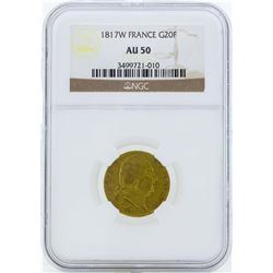 1817W France 20 Francs Gold Coin NGC AU50