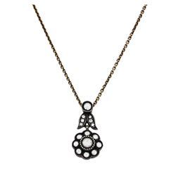 14KT Gold and Silver 0.83 ctw Diamond Pendant with Chain