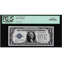 1928A $1 Funnyback Silver Certificate Note Fr.1601 PCGS Gem New 65PPQ