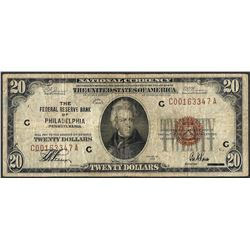 1929 $20 Federal Reserve Bank Note Philadelphia