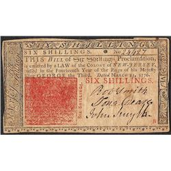 March 25, 1776 New Jersey Six Shillings Colonial Currency Note