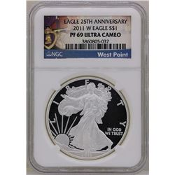 2011-W $1 American Silver Eagle Proof Coin NGC PF69 Ultra Cameo