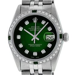 Rolex Men's Stainless Steel 36mm Green Vignette Diamond Datejust Wristwatch