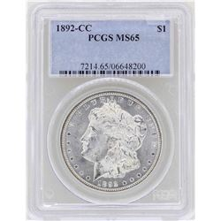 1892-CC $1 Morgan Silver Dollar Coin PCGS MS65