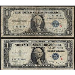 "Lot of (2) 1935A $1 Experimental ""S"" Silver Certificate Note"