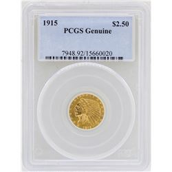 1915 $2 1/2 Indian Head Quarter Eagle Gold Coin PCGS Genuine