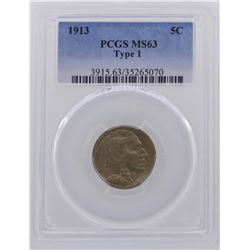 1913 Type 1 Buffalo Nickel Coin PCGS MS63