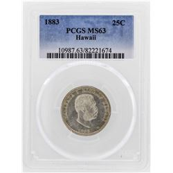 1883 Kingdom of Hawaii Quarter Coin PCGS MS63