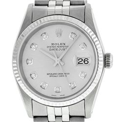 Rolex Men's Stainless Steel Silver Diamond Datejust Wristwatch
