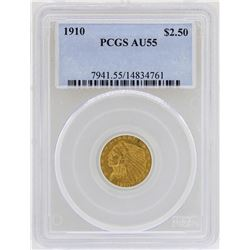 1910 $2 1/2 Indian Head Quarter Eagle Gold Coin PCGS AU55
