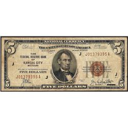 1929 $5 Federal Reserve Bank Note Kansas City, MO
