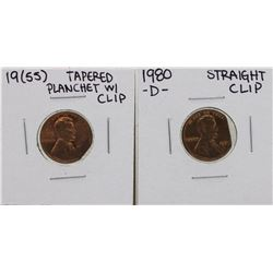 1955 Tapered Clip Planchet & 1980-D Straight Clip Lincoln Wheat Penny ERROR Coin