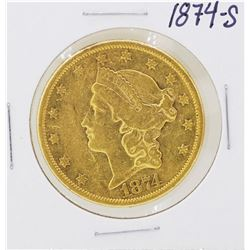 1874-S Type II $20 Liberty Head Double Eagle Gold Coin