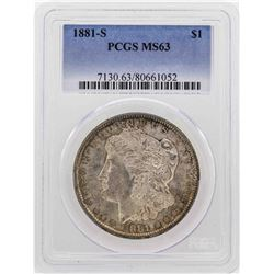 1881-S $1 Morgan Dollar Coin PCGS MS63