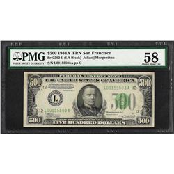 1934A $500 Federal Reserve Note San Francisco Fr.2202-L PMG Choice About Unc. 58