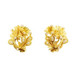 Silver and 18KT Yellow Gold 0.80 ctw Diamond Earrings