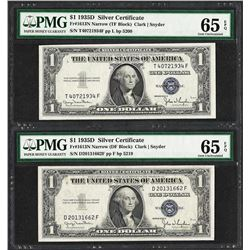 Lot of (2) 1935D $1 Silver Certificate Notes Fr.1613N PMG Gem Uncirculated 65EPQ