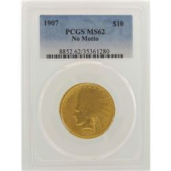 1907 No Motto $10 Indian Head Eagle Gold Coin PCGS MS62