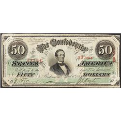 1863 $50 The Confederate States of America Note Cut Canceled