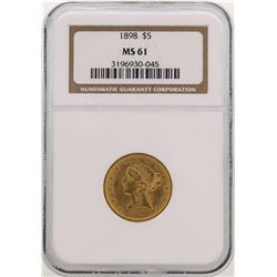 1898 $5 Liberty Head Half Eagle Gold Coin NGC MS61