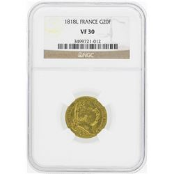 1818L France 20 Francs Gold Coin NGC VF30