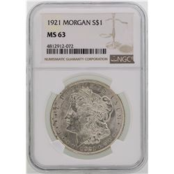 1921 $1 Morgan Silver Dollar Coin NGC MS63