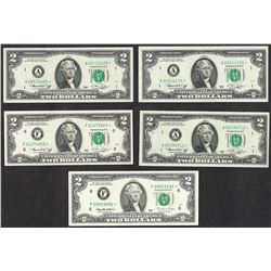 Lot of (5) 1976 $2 Federal Reserve STAR Notes