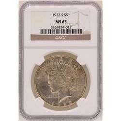 1922-S $1 Peace Silver Dollar Coin NGC MS65