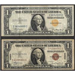 Lot of 1935A $1 Silver Certificate WWII Emergency Hawaii & North Africa Note