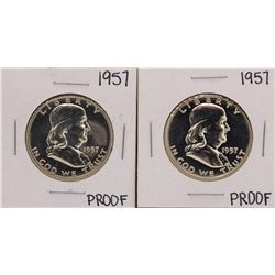 Lot of (2) 1957 Franklin Half Dollar Proof Coins