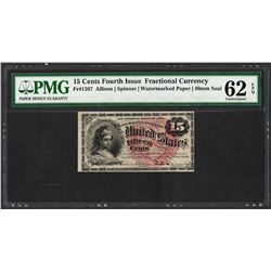 1863 Fifteen Cents Fourth Issue Fractional Note PMG Uncirculated 62EPQ