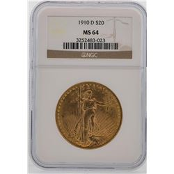 1910-D $20 St. Gaudens Double Eagle Gold Coin NGC MS64