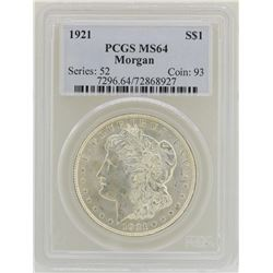 1921 $1 Morgan Silver Dollar Coin PCGS MS64