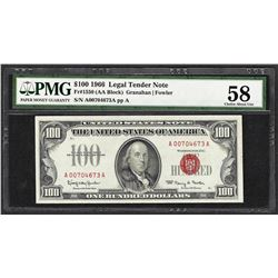 1966 $100 Legal Tender Note Fr.1550 PMG Choice About Uncirculated 58