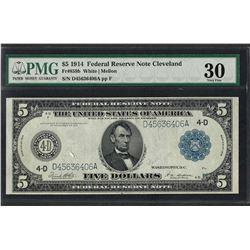 1914 $5 Federal Reserve Note Cleveland Fr.859b PMG Very Fine 30