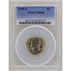 1945-S Jefferson Nickel Coin PCGS MS64
